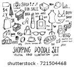 set of shopping doodle...   Shutterstock .eps vector #721504468