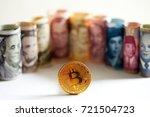 Golden Bitcoin Coin On...