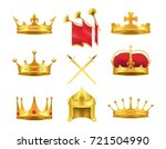 golden ancient crowns and... | Shutterstock . vector #721504990