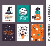 vector halloween greeting card  ... | Shutterstock .eps vector #721506580