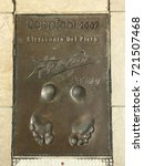"Small photo of MONACO - July 28, 2017:Winner of Golden Foot award (international prize awarded to footballers) leaves a permanent mould of his footprints on ""The Champions Promenade"". 2007, Alessandro Del Piero."