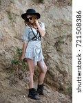 portrait of a model girl in a... | Shutterstock . vector #721508386