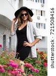 porter girl model in a... | Shutterstock . vector #721508416