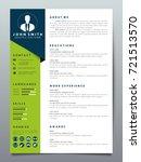 resume design template... | Shutterstock .eps vector #721513570
