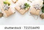 christmas handmade gift boxes...   Shutterstock . vector #721516690