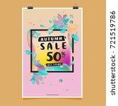 vector autumn sale poster... | Shutterstock .eps vector #721519786