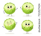 cabbage. cute vegetable vector... | Shutterstock .eps vector #721527424
