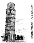 leaning tower of pisa by pen ... | Shutterstock .eps vector #721528624