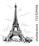eiffel tower drawn by pen and... | Shutterstock .eps vector #721529446