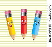 three cheerful pencils on a... | Shutterstock .eps vector #721530970