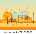 autumn kids playground ... | Shutterstock .eps vector #721536028