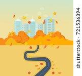 autumn park and city  high... | Shutterstock .eps vector #721536394
