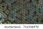 cyan and gold abstract... | Shutterstock . vector #721536970