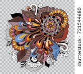 colored floral tattoo artwork.... | Shutterstock .eps vector #721544680