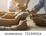 group of people use phone on... | Shutterstock . vector #721545316