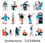 addictions people flat images... | Shutterstock .eps vector #721548646