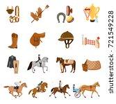 equestrian sport set of flat... | Shutterstock .eps vector #721549228