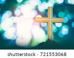 Small photo of Silhouette jesus christ on cross background Abstract for christian religion that god he is risen in easter day bible prophet symbol death concept for feeling proud calvary Christmas card decoration.