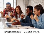 good news young team in the... | Shutterstock . vector #721554976