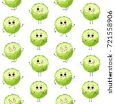 cabbage  vector seamless... | Shutterstock .eps vector #721558906