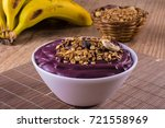 acai with banana and granola... | Shutterstock . vector #721558969