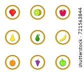 healthy fruit icons set.... | Shutterstock .eps vector #721563844