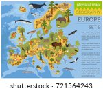 flat european flora and fauna... | Shutterstock .eps vector #721564243