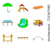 freightage icons set. cartoon...   Shutterstock .eps vector #721567480