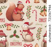 watercolor christmas... | Shutterstock . vector #721567966