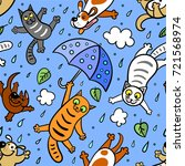 Stock vector  it s raining cats and dogs graphic seamless pattern doodle style hand drawing 721568974