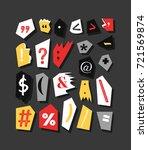 colorful newspaper symbols.... | Shutterstock .eps vector #721569874