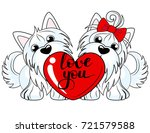 two cute yorkshire terrier dogs ... | Shutterstock .eps vector #721579588