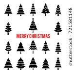 black silhouettes of christmas... | Shutterstock .eps vector #721581148