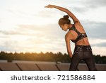 young female workout before... | Shutterstock . vector #721586884
