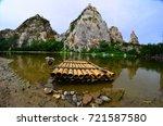 bamboo raft at khao ngu stone... | Shutterstock . vector #721587580