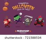 vintage halloween poster design ... | Shutterstock .eps vector #721588534