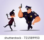 big strong policeman character... | Shutterstock .eps vector #721589953