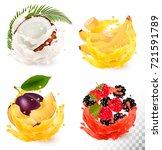 set of fruit juice splash.... | Shutterstock .eps vector #721591789