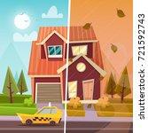 suburban house  summer and... | Shutterstock .eps vector #721592743