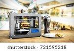3d printer print burger 3d...   Shutterstock . vector #721595218