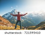 woman hiker standing on the top ...   Shutterstock . vector #721595410