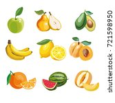colorful fruit icons set apple | Shutterstock . vector #721598950