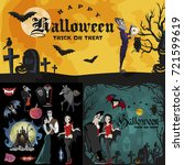 halloween backgrounds set with... | Shutterstock .eps vector #721599619