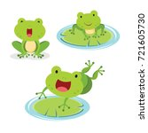 Set Of Green Frog In Different...