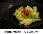 lettuce and crab salad. | Shutterstock . vector #721606399