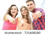closeup of three young people... | Shutterstock . vector #721608280