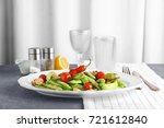 plate with delicious green... | Shutterstock . vector #721612840