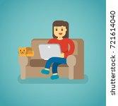 work at home freelancer woman... | Shutterstock .eps vector #721614040