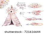 watercolor colorful ethnic set... | Shutterstock . vector #721616644