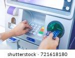 woman's hand pressing pin pass... | Shutterstock . vector #721618180